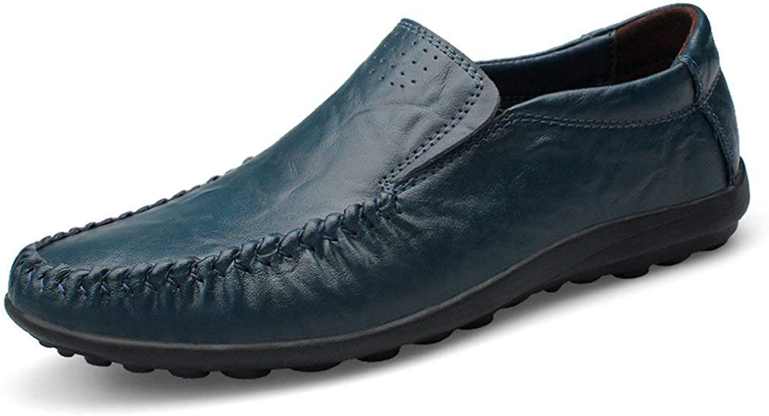 ZHRUI Boy's Men's Rubble Sole Casual Daily Loafers (color   Dark bluee, Size   6.5 UK)
