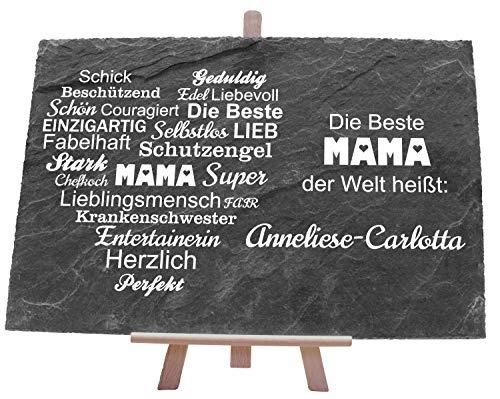 wandmotiv24 Schiefertafel mit Spruch Beste Mama und Herz, personalisiert mit Namen, 30x20cm (BxH), Charaktereigenschaften, Geburtstagsgeschenk, Geburtstag, Valentinstag, Muttertag M0056
