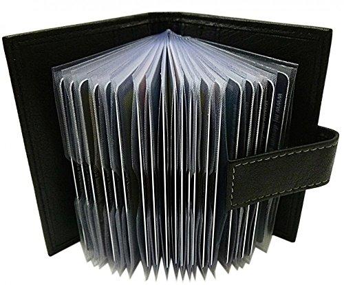 XXL Cuero de búfalo Caja de la Tarjeta para un Total de 24 Tarjetas de credito MJ-Design-Germany (Negro)