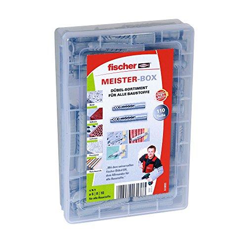 fischer MEISTER-BOX UX/UX R, Dübelset mit 110 Teilen, Universaldübel, praktische Aufbewahrungsbox für Dübel, für Heimwerker & Profis, ohne Schrauben