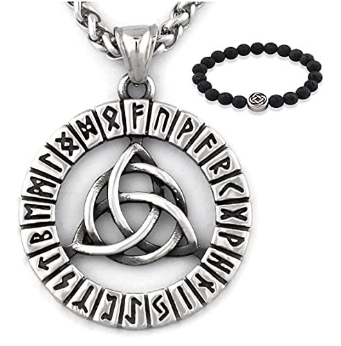 Gungneer Triquetra Pendant Celtic Knot Runes Necklace Stainless Steel Keel Chain Infinity Jewelry Talisman Amulet (20)