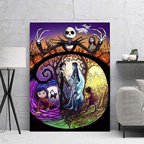 DIY Painting by numbers Art Painting Picture Nightmare Christmas Nordic Cartoon painting by numbers Suitable for living room decoration for children, students and adult beginn50x70cm(No frame)