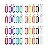 200 Pcs Plastic Key Tags with Split Ring Label Window, Keychain ID Name Tags, Assorted Col...