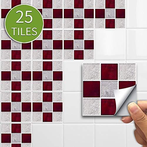 Leileixiao 10/15CMX25PCS Mosaico Pegatina para el hogar Etiqueta engomada de la Pared Pegatina de Piso Calcomanías de Pared Etiqueta de azulejo Impermeable para la Cocina Baño