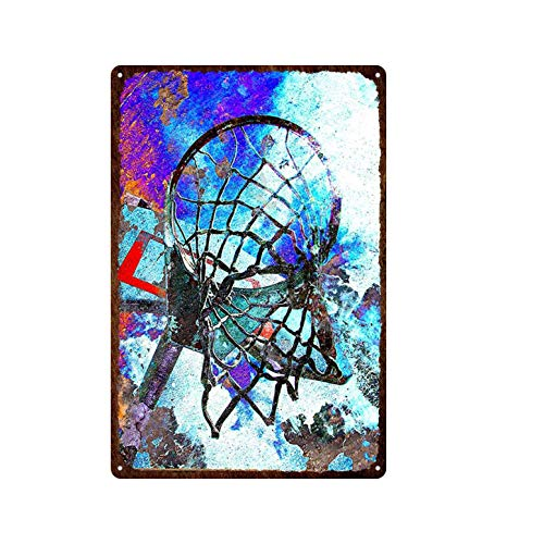 ivAZW Tin Sign Poster Basketball Hoop Decorative Plate Sports Metal Wall Decor Iron Painting Bedroom 20x30cm 7