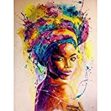 5D Diamond Painting Watercolor Paintings of African Women Full Drill by Number Kits, SKRYUIE DIY Rhinestone Pasted Paint with Diamond Set Arts Craft Decorations (12x16inch)
