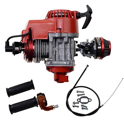WOOSTAR 44mm Big Bore Cilindro con Tirador de Arranque con Carburador y Filtros de Aire Kit Reemplazo para 2 Tiempos 43cc 47cc 49cc 52cc Mini Pocket Bike Gas Ciclomotor Scooter Rojo