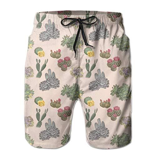 Jiger Beach Shorts Cactus Texture Zwembroek voor heren, met zakken