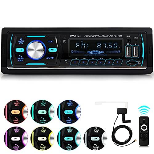 iFreGo DAB + Autoradio Bluetooth Freisprecheinrichtung, AutoRadio MP3-Player/FM Radio, USB Unterstützung für die von Musikwiedergabe,TF-Karte, 7 Beleuchtungsfarben 1 Din Autoradio Bluetooth
