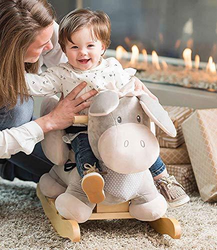 Nattou Schaukeltier ab 1 Jahr mit Gurt, Mädchen und Jungen – Cappuccino Esel beige - 2