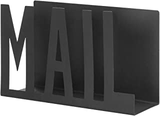 NACTECH Desktop Letter Holder Black Metal Sturdy Cutout Mail Stand Organizer Keep Neat for Office Home School