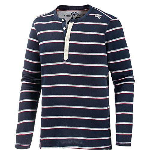 Odlo t-Shirt à Manches Longues et col Rond pour Homme vallée Blanche Chaude XL Bleu - Navy New Stripes