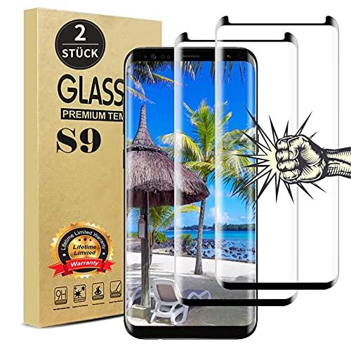 【2 Stück 】 Galaxy S9 Panzerglas Schutzfolie, Anti-Fingerabdruck, Anti-Kratzen, Anti-Öl, 9h Härte 3D Vollständige Abdeckung Displayschutz Panzerglasfolie für Samsung S9