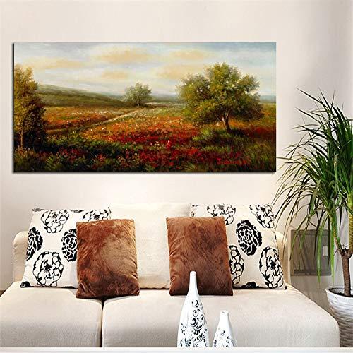 wZUN Cartel de Paisaje de Amapola roja idílico HD impresión Pintura al óleo Abstracta sobre Lienzo Cuadro de Pared decoración del hogar 60x120 Sin Marco