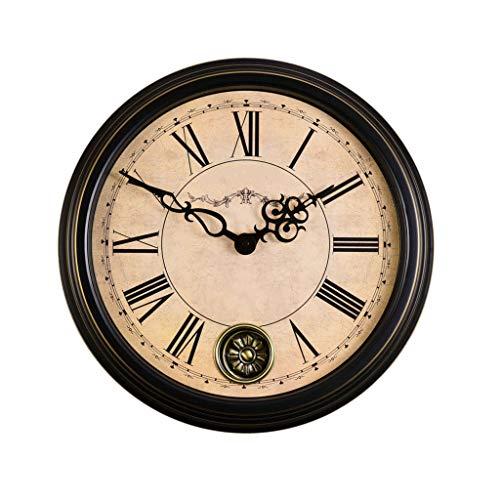 YZERTLH Reloj de Pared Retro Reloj de Pared Silencioso Oscilante Cuarzo Antiguo Reloj de Pared Decorativo Oficina en el hogar A batería 18 Pulgadas Reloj Pared (Color : A)