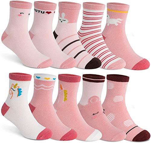 HBselect 10 paia di Calze per Bambina in Cotone Calzini Bambina Morbido e Respirante Calze Neonate con Modello di Cartone Animato Ideale Regalo per Bimba.