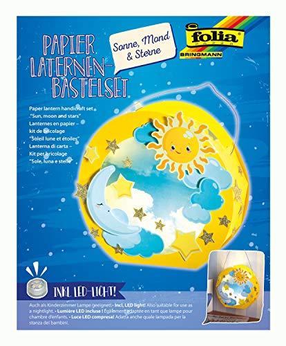 folia 68101 - Laternen - Bastelset, Sonne, Mond & Sterne, inklusive Laternenstab und LED-Licht