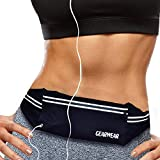 GEARWEAR Reflective Running Bag Waist Pack Fanny Pouch for iPhone 7 8 Plus X Holder Water Resistant Cell Phone Pocket for Workout Sports Walking Fitness Exercise Hiking Marathon Gym Black