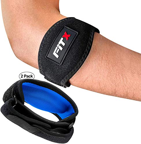 FiTX Elbow Brace Tennis Elbow Straps Golfers Tendonitis Pain Relief Compression Arm Band For Men Women