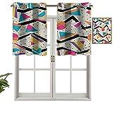 Hiiiman Cenefa de cortina para ventana de privacidad interior de los años 80 Funky Memphis Fashion, juego de 2, 42 x 24 pulgadas para puerta corredera de patio o comedor