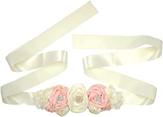 Spmor Women's Bridal Wedding Dress Rhinestone Sash Maternity Sash Belt Flower Baby Girl Sash Belt