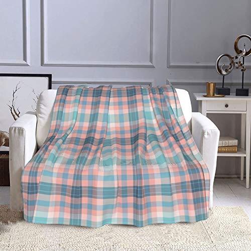 KCOUU Fnb Fizz N' Bubble Couverture en polaire 127 x 152 cm Motif tartan rose et bleu Pour canapé, lit, voyage, maison, bureau