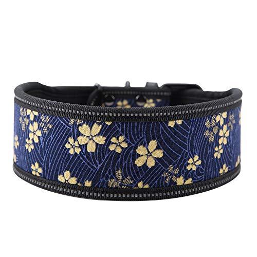 Hundehalsband aus Nylon verstellbares Nylonhalsband Bequemes Sicherheitshalsband mit reflektierender Schnalle für mittelgroße und große Hunde(L-Marineblau)