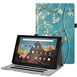 Fintie Case for All-New Amazon Fire HD 10 Tablet (Compatible with 7th and 9th Generations, 2017 and 2019 Releases) - [Multi-Angle Viewing] Folio Stand Cover with Pocket Auto Wake/Sleep, Blossom