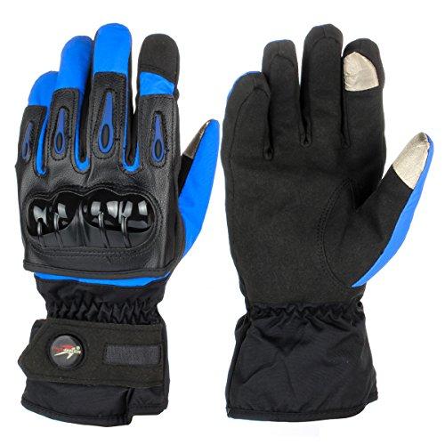 GES hombres guantes impermeables al aire libre motocicleta otoño invierno guantes calientes dedo completo moto pantalla táctil carreras guantes de cuero del motocross (XXL, Azul)