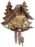 Original Negro bosques Cuco Reloj de Madera auténtica, mecánica de 1día de Unidad y Certificado VDS–Oferta de Relojes de Park Eble–Madera Hacker 32cm de