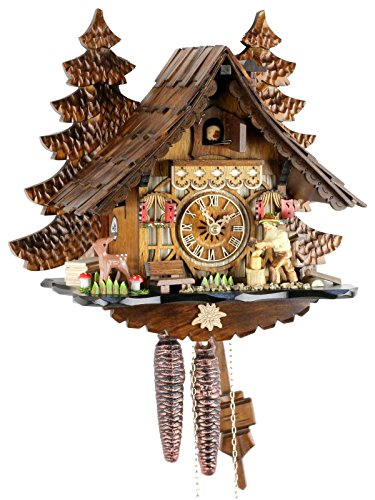 Orologio a cucù originale della Foresta Nera, in vero legno, meccanismo meccanico, 1 giorno, certificato VDS Eble, 32 cm, 22303
