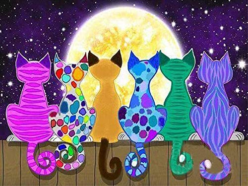 Wgniip DIY 5D Diamond Painting Kit, Full Round Drill Crystal Rhinestone Embroidery Cross Stitch Arts Craft Canvas Supply Kit for Adults and Kids Christmas New Year Gift Moon Cats 14X18 inches