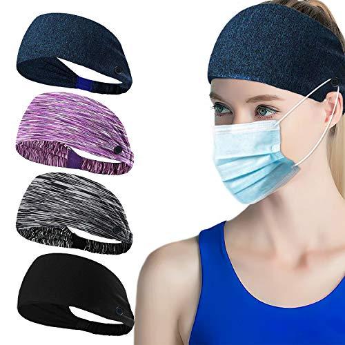 YOURDORA Elastische Stirnband 4er-Set für Herren und Damen mit Knöpfen für Maskenhalter, Bedruckter Kopfwickel Kopfband Haarband Schweißband Anti Rutsch für Alltag Yoga Sport Fitness