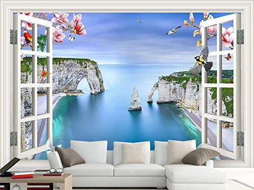 Gewohnheit Irgendeine Größe Fenster Außerhalb Der Meer Landschaft Magnolia Vogel Tv Sofa Hintergrund Wandaufkleber Ausgangsdekor Tapete Wandbild
