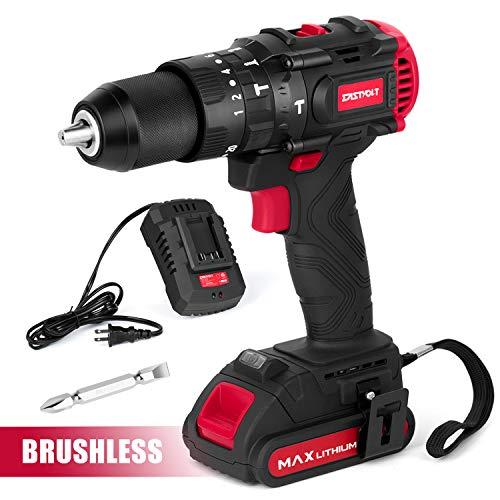 Eastvolt 20V Brushless Hammer Drill, Drill Driver with 1/2 inch metal keyless chuck, 2 speed Max 2000RPM, 20+1+1+1 torque settings, Hammer & Drill & Screwdriver, 2.0Ah Li-ion Battery, EVHD2001B