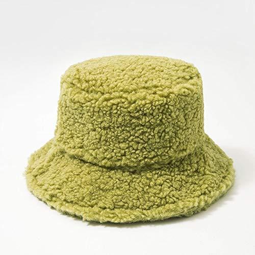 Sombrero de Mujer Piel Artificial sólida Gorra Femenina cálida Piel sintética Sombrero de Cubo de Invierno para Mujer Sombrero de protección Solar al Aire Libre Sombrero Panamá Lady Cap - Verde