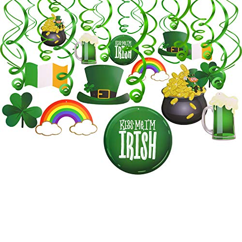 Patricks Day Beads Necklaces Green Shamrock Bead Necklace with 18 Pieces 3 Styles Felt Beer Bottle Clover Hat Pendants for Festival Party Decoration 18 Pieces St