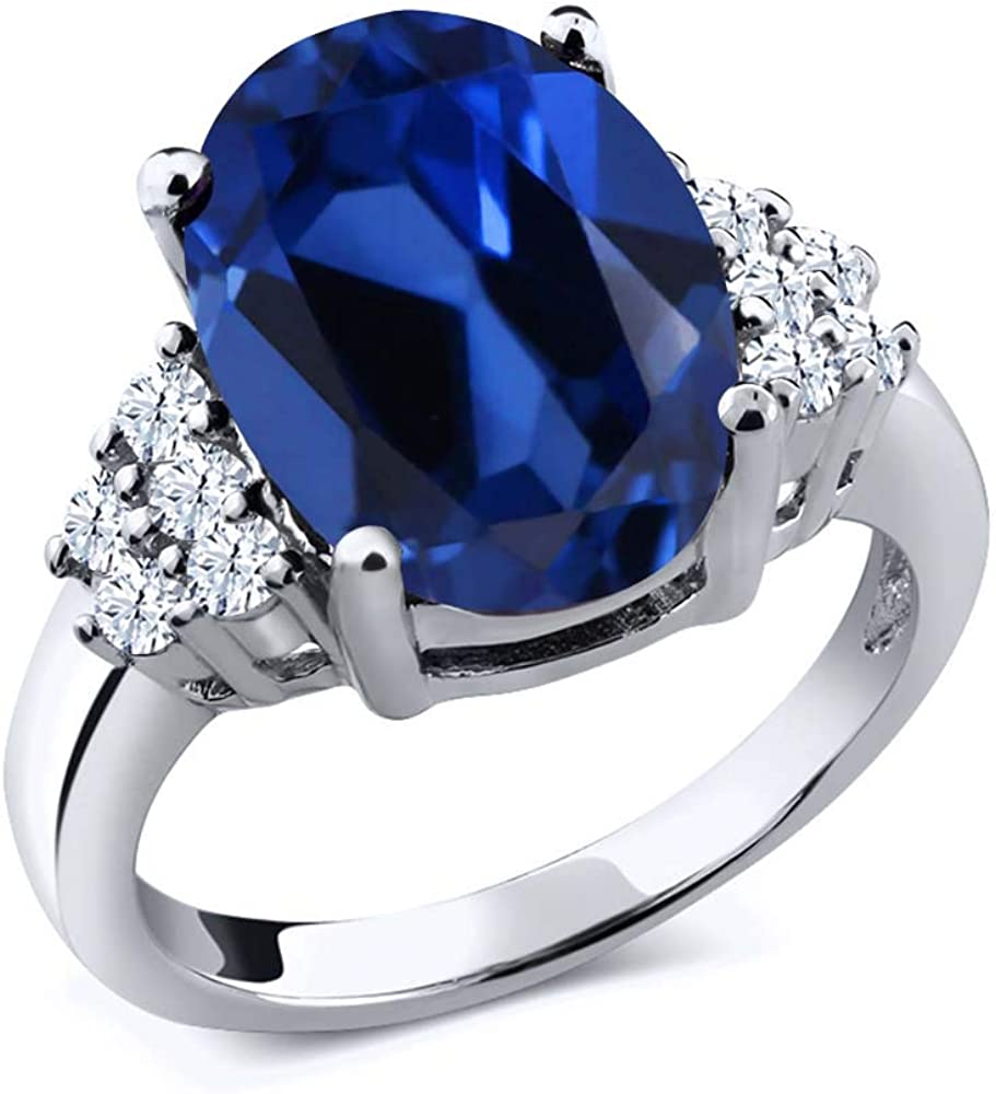 Max 81% OFF Gem Stone King 6.43 Ct Oval Max 69% OFF Blue Created 925 S Sterling Sapphire