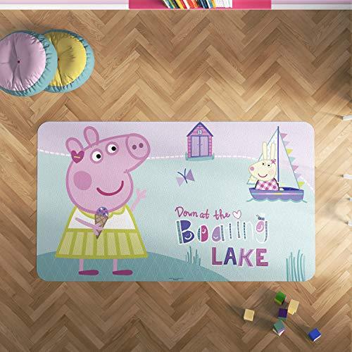 Oedim Alfombra PVC Peppa Pig Barco   165 x 95 cm   Producto Oficial y Original   Suelo vinílico   Decoración del Hogar   Peppa Pig  