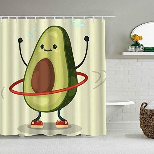 Duschvorhang Obst Süße Avocado Übung mit Hula Hoop wasserdichte Badvorhänge Haken enthalten - Badezimmer dekorative Ideen Polyester Stoff Zubehör