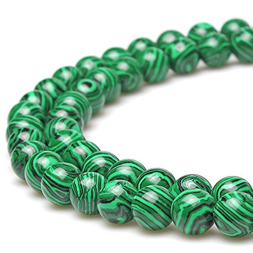 JarTc Round Green Malachite Gemstone Beads for DIY Jewellery Making Bracelet Necklace 15' (4mm)