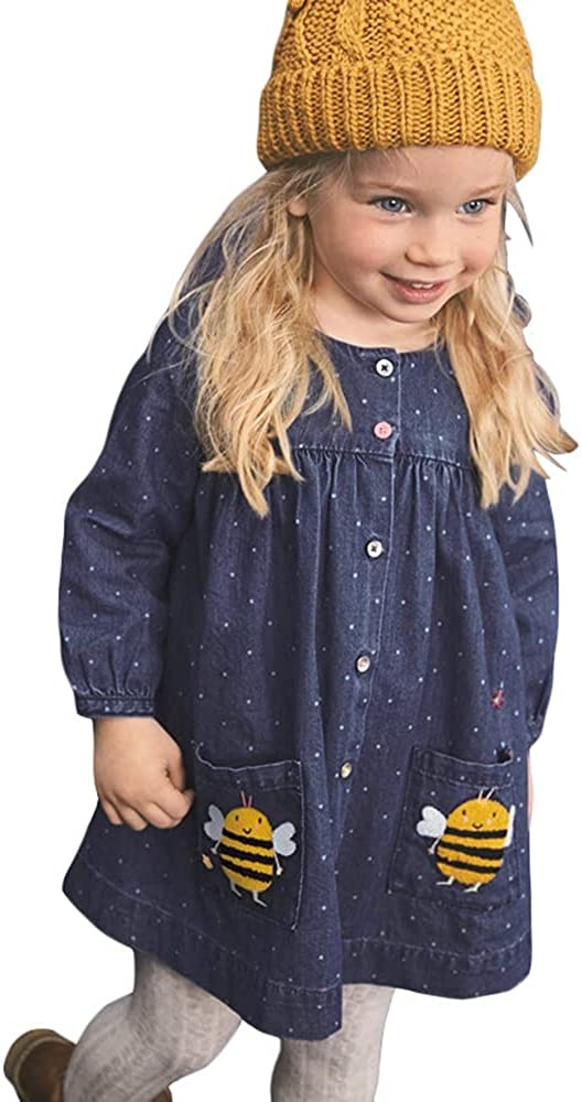 HYBIHYBI Autumn Toddler Clothes Casual Cotton Animal Rainbow Sunny Applique Denim Dress for Kids 2-7 Years