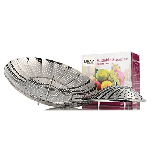 LIHAO Kitchen Craft Panier Vapeur Rétractable en Acier INOX - Taille: Large