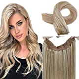 LaaVoo 20' Halo Invisible Wire Halo Secret Hair Extensions 100g Remy Blonde Halo Real Human Hair Invisible One Piece Double Weft Extensions Highlight Ash Blonde with Light Blonde 10.5inch Width