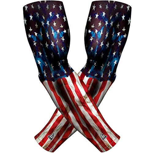 B-Driven Sports American Flag Compression Arm Sleeves For Men And Women. Use For Tennis & Golers Elbow, Pain, Swelling, Improve Cirrculation, Arm Cover - Large