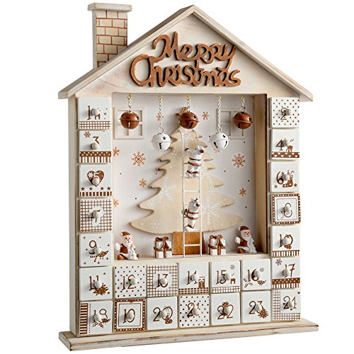 WeRChristmasCalendario dell'Avvento in legno, decorazione natalizia a forma di casetta, Legno, Beige, 29 x 6.5 x 37 cm