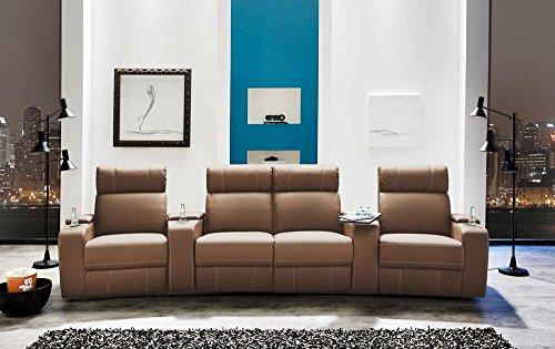 4er Cinema Sessel in Kunstleder cappuccinofarben, verstellbar durch Halbautomatik, Getränkehaltern, Stauraumfächern, Maße: B/H/T ca. 356/101/100 cm