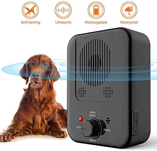 ULTPEAK Antibellhalsband, Ultraschall-Anti-Bell Gerät, Wiederaufladbares Antibell Halsband, Wasserdichtes Hundebellen-Abschreckmittel, 3 Einstellbare Stufen