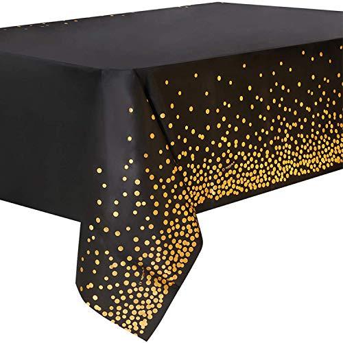 4 Stück Schwarz und Gold Party Tischdecke Einweg für Rechteck Tisch, Gold Dot Confetti Geburtstag Tischdecke für Geburtstag, Jahrestag, Braut Shower, Abschlussfeier, Cocktail Party, 137cm x 274cm