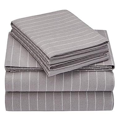 Pinzon 160 Gram Pinstripe Flannel Sheet Set - Queen, Grey Pinstripe